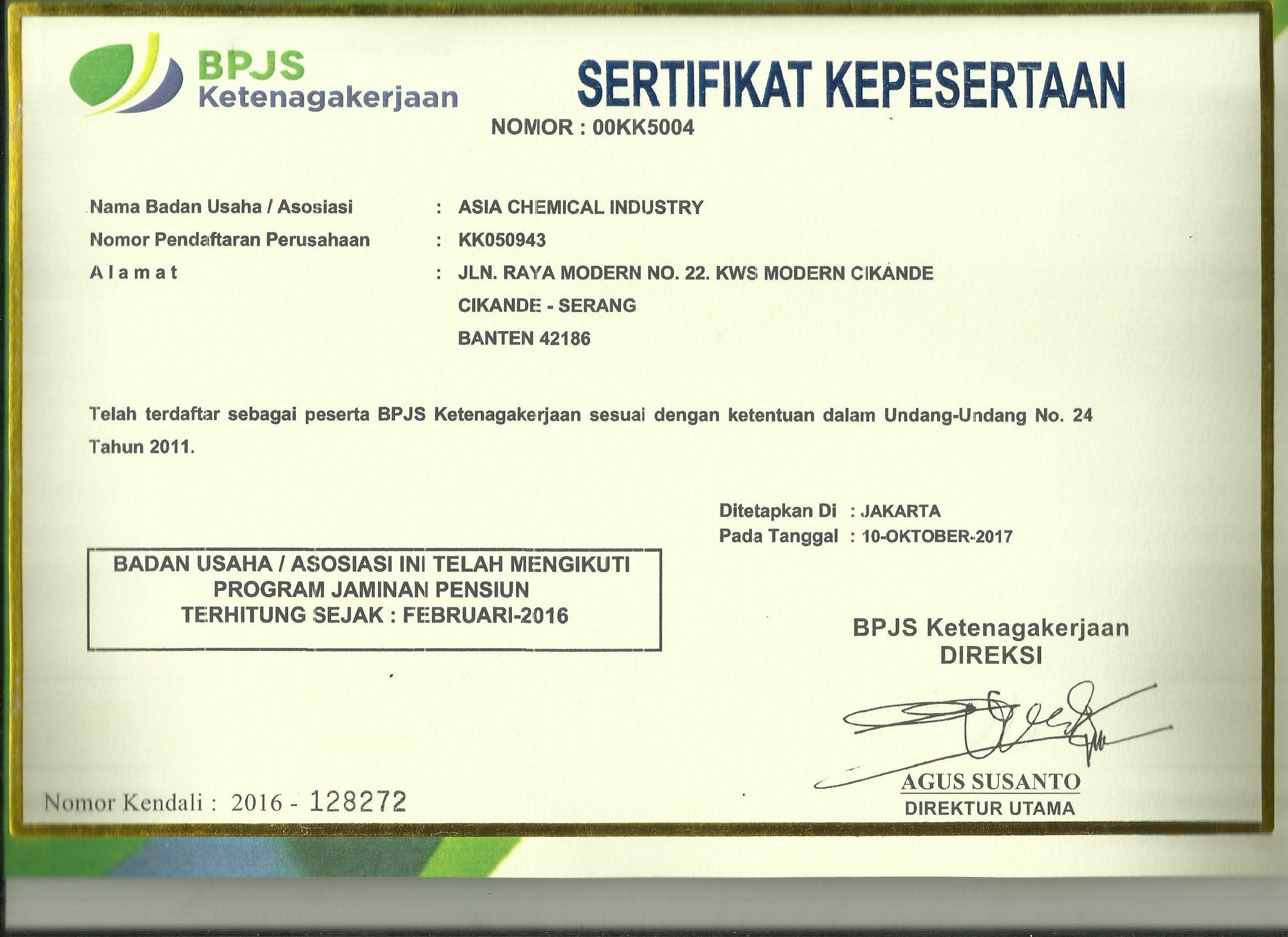 BPJS certificate ACI